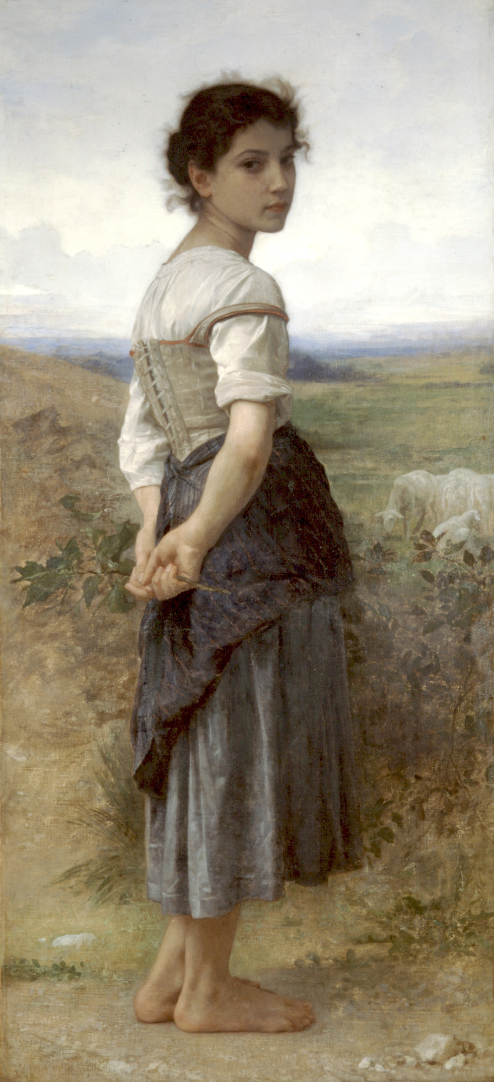"""File:William-Adolphe Bouguereau (1825-1905) - The Young Shepherdess (1885).jpg Artist William-Adolphe Bouguereau  (1825–1905) Blue pencil.svg wikidata:Q483992 q:en:William-Adolphe Bouguereau William-Adolphe Bouguereau: The Young Shepherdess Title The Young Shepherdess Object typepainting Edit this at Wikidata Genrepastoral Edit this at Wikidata Date1885 Mediumoil on canvas mounted on board DimensionsHeight: 62 in (157.4 cm); Width: 28.5 in (72.3 cm) Collection San Diego Museum of Art  Blue pencil.svg wikidata:Q1368166 Accession number 1968:82 Exhibition history Bouguereau & America Edit this at Wikidata Notesgiven by Mr. and Mrs. Edwin S. Larsen Referencesdescribed at URL: http://collection.sdmart.org/Obj2298 Edit this at Wikidata Source/PhotographerUnknown source Permission (Reusing this file) This is a faithful photographic reproduction of a two-dimensional, public domain work of art. The work of art itself is in the public domain for the following reason: Public domain This work is in the public domain in its country of origin and other countries and areas where the copyright term is the author's life plus 100 years or fewer.  This work is in the public domain in the United States because it was published (or registered with the U.S. Copyright Office) before January 1, 1925.  This file has been identified as being free of known restrictions under copyright law, including all related and neighboring rights. The official position taken by the Wikimedia Foundation is that """"faithful reproductions of two-dimensional public domain works of art are public domain"""". This photographic reproduction is therefore also considered to be in the public domain in the United States. In other jurisdictions, re-use of this content may be restricted; see Reuse of PD-Art photographs for details."""