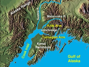 Cook Inlet, showing Knik and Turnagain Arms