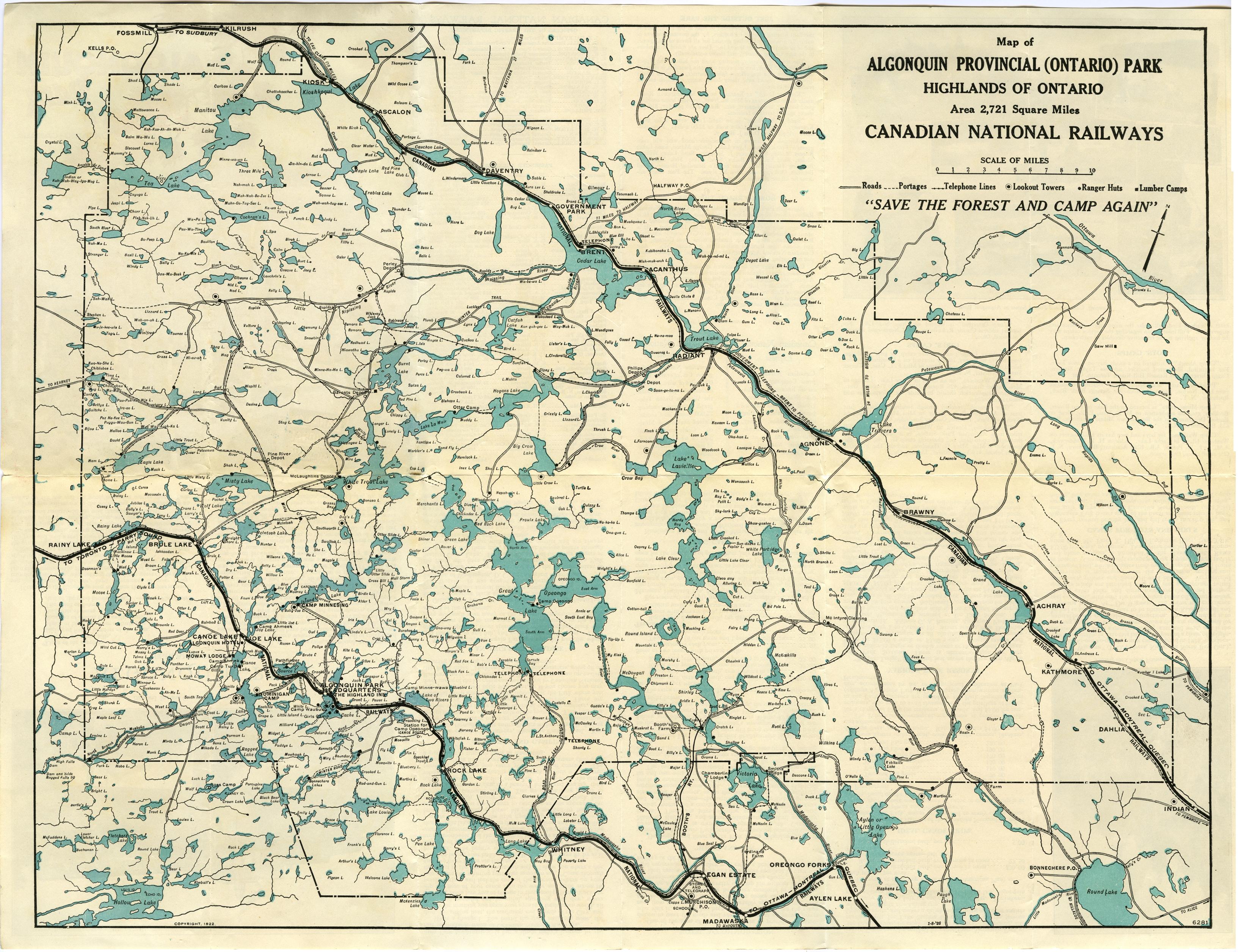 Algonquin Park Map File:1922 cnr algonquin park map halfsize.   Wikimedia Commons Algonquin Park Map