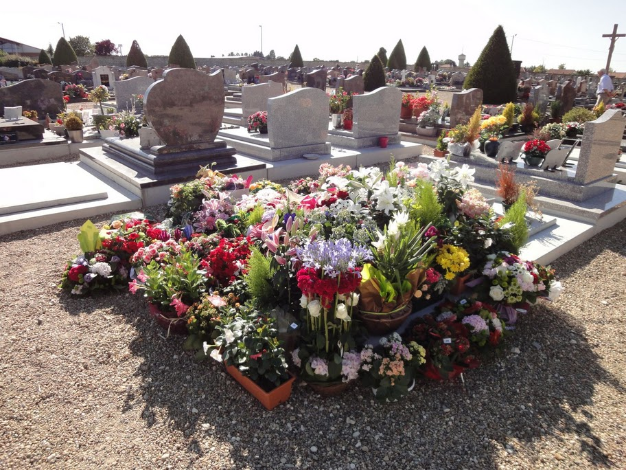 Flowers on a grave at a cemetery