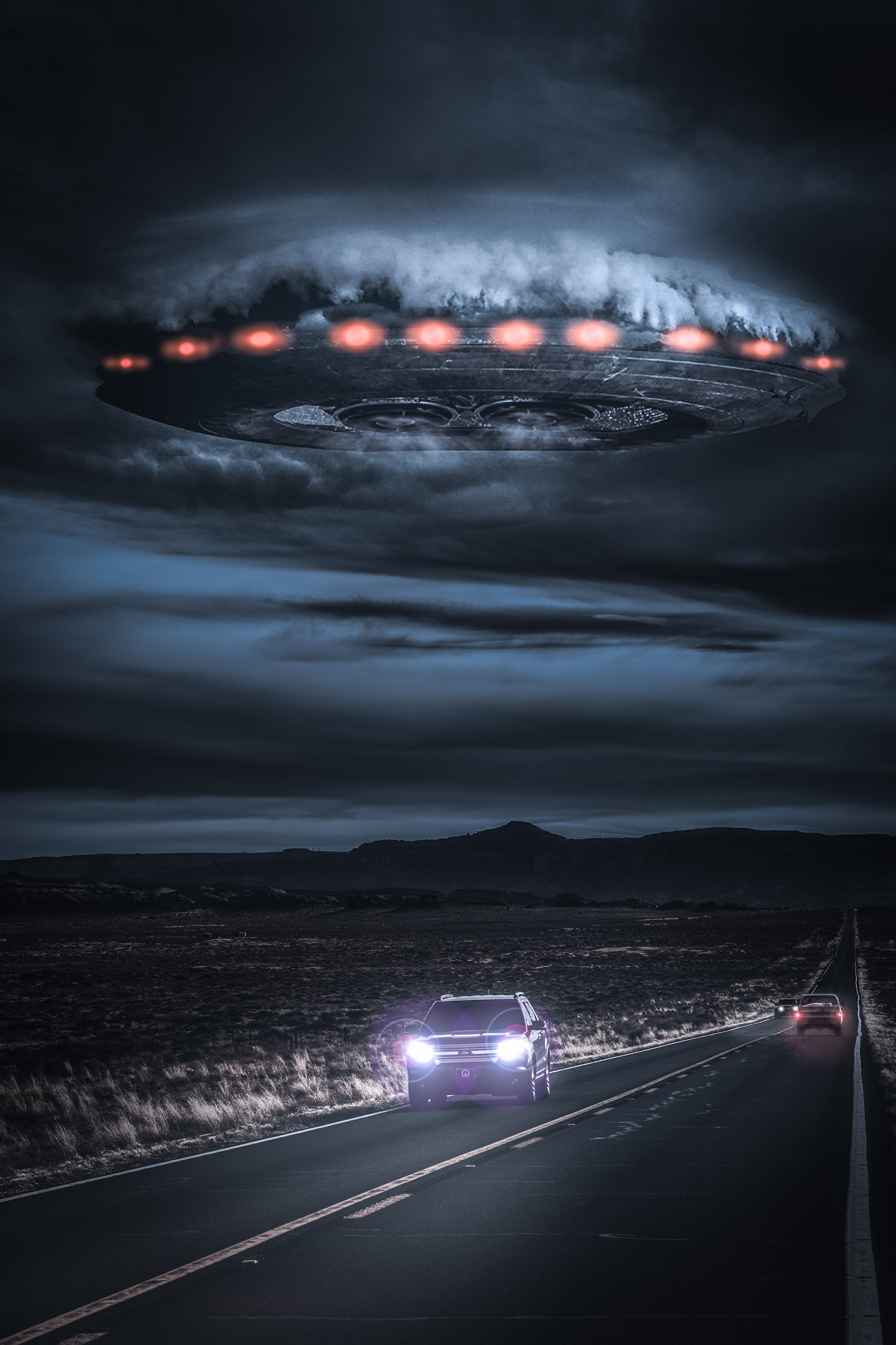 File:Alien spaceship breaking through the clouds over a ...