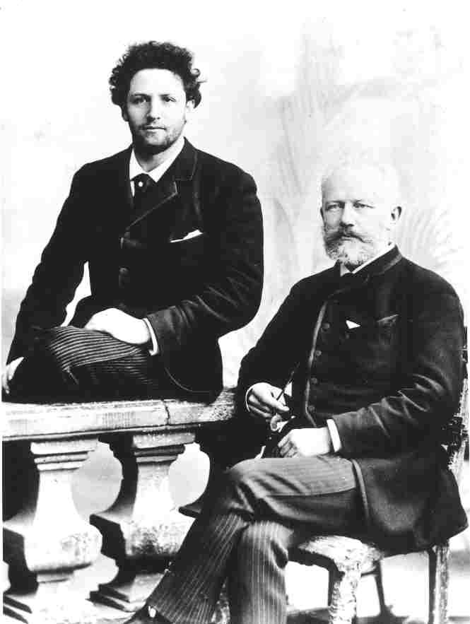 Chaikovski y el chelista ruso Anatoli Brandukov, en París (18 de mayo de 1888).