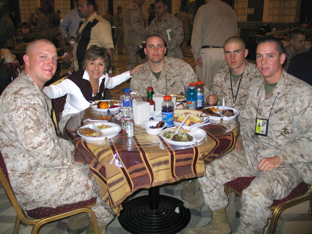 Senator Barbara Boxer joins Marines in Iraq at meal