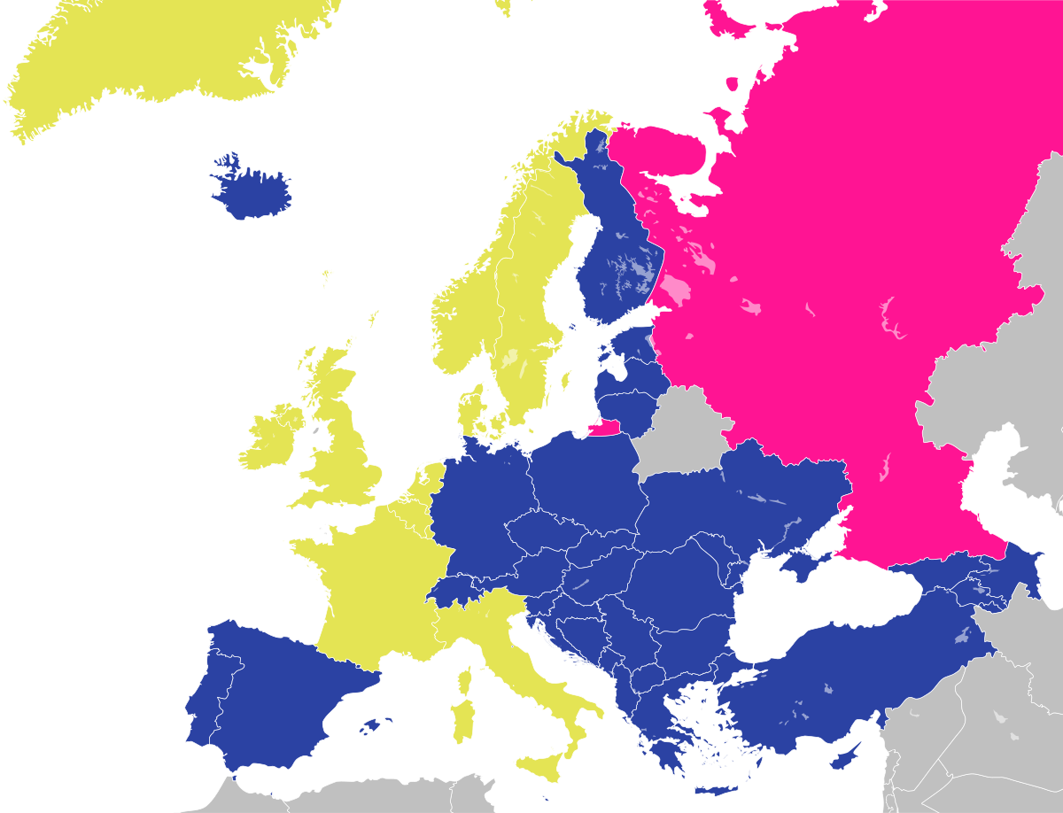 Gold: founding member. Blue: Later (current) full members.