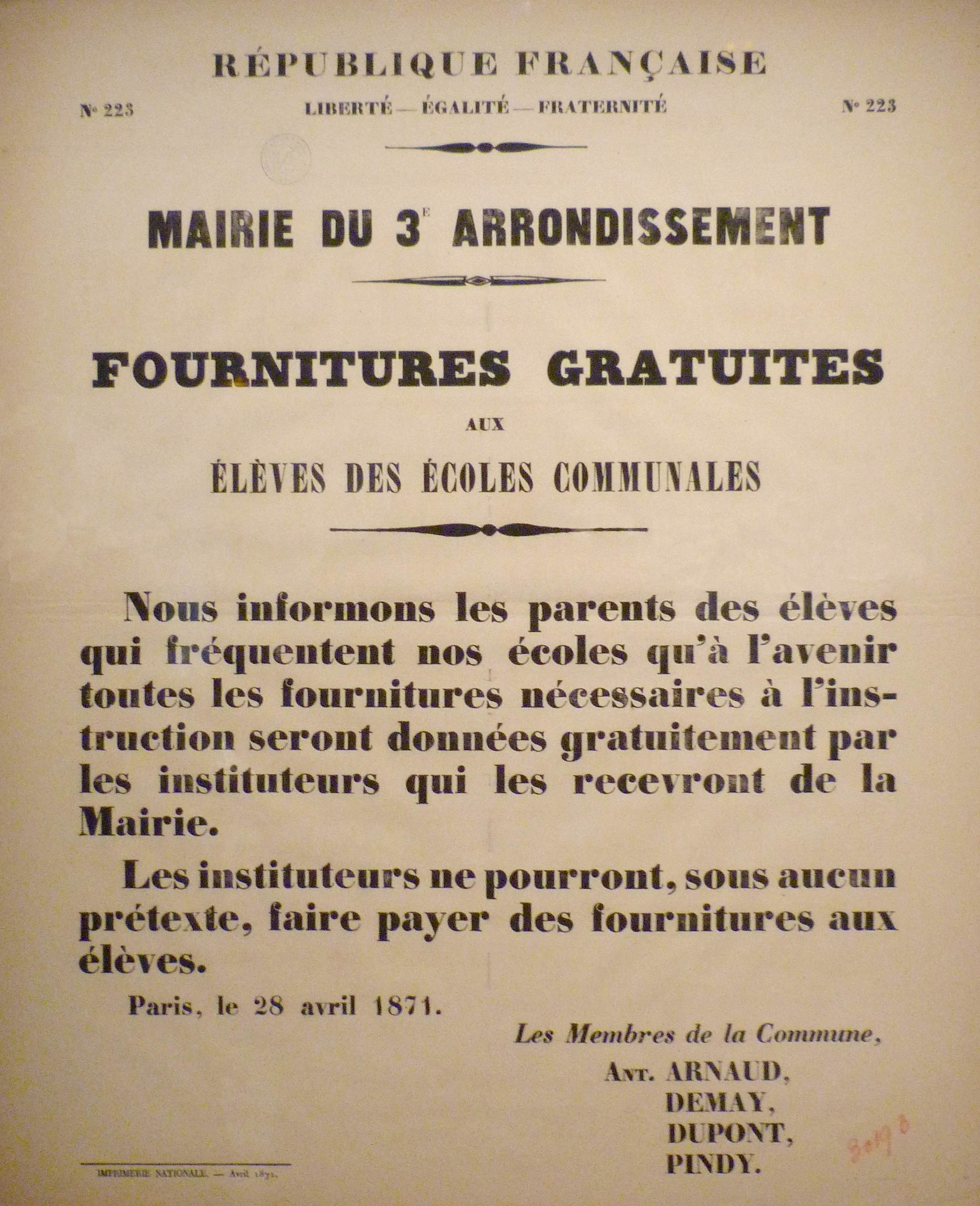 Filecommune De Paris Affiche Du 28 Avril 1871 Sur Les