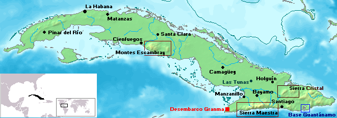 Mapa de Cuba.