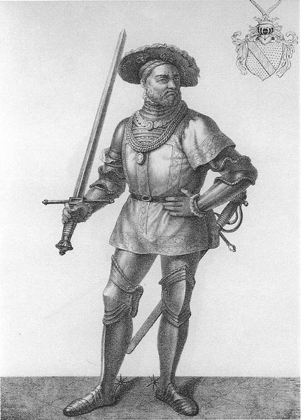 Ernst Friedrich, Margrave of Baden-Durlach, wearing Landsknecht dress. His greaves, however, are atypical of Landsknecht Ernst I. von Baden-Durlach.jpg