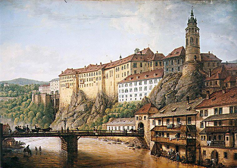 Chateau du Český Krumlov en République Tchèque - Tableau de Ferdinand Runk (1821)