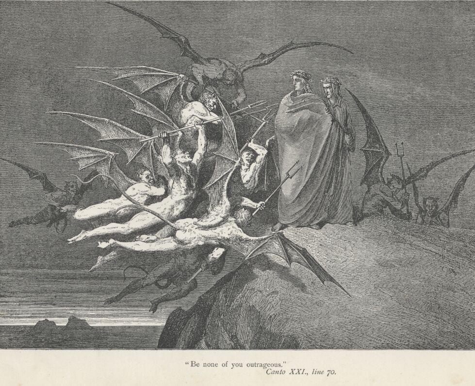 The battle between virtue and vice defined Middle Age society - Gustave Dore Inferno Canto 21