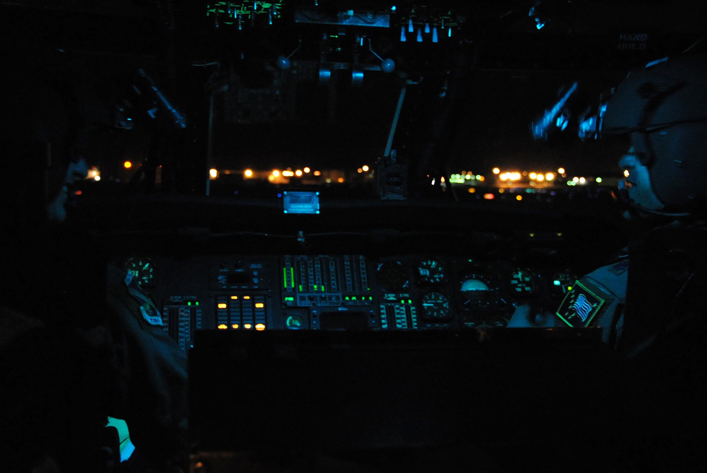 Nighttime View Landing At Kansas City Airport