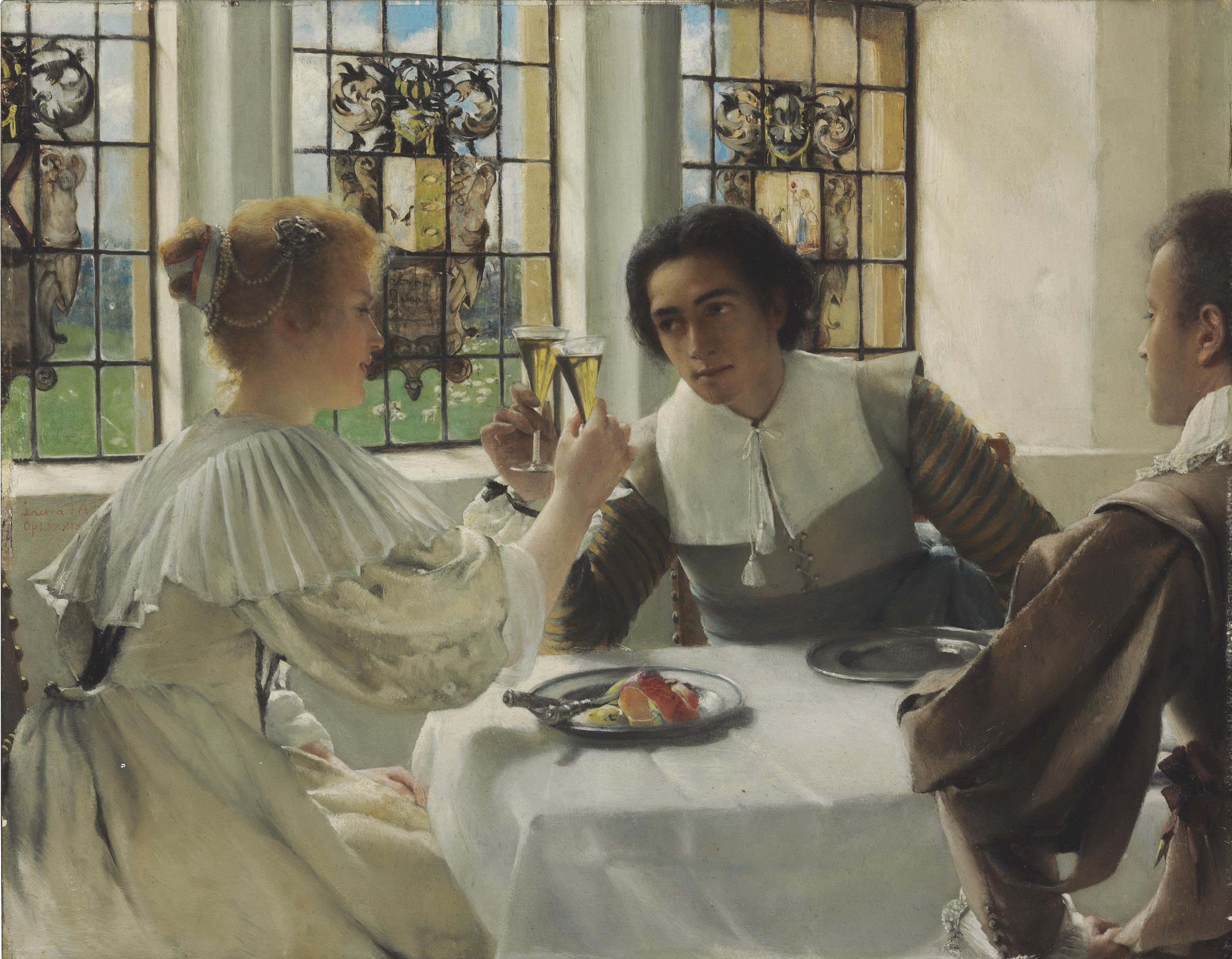 Découverte !!! Laura_Theresa_Alma-Tadema_-_The_pledge_(1904)