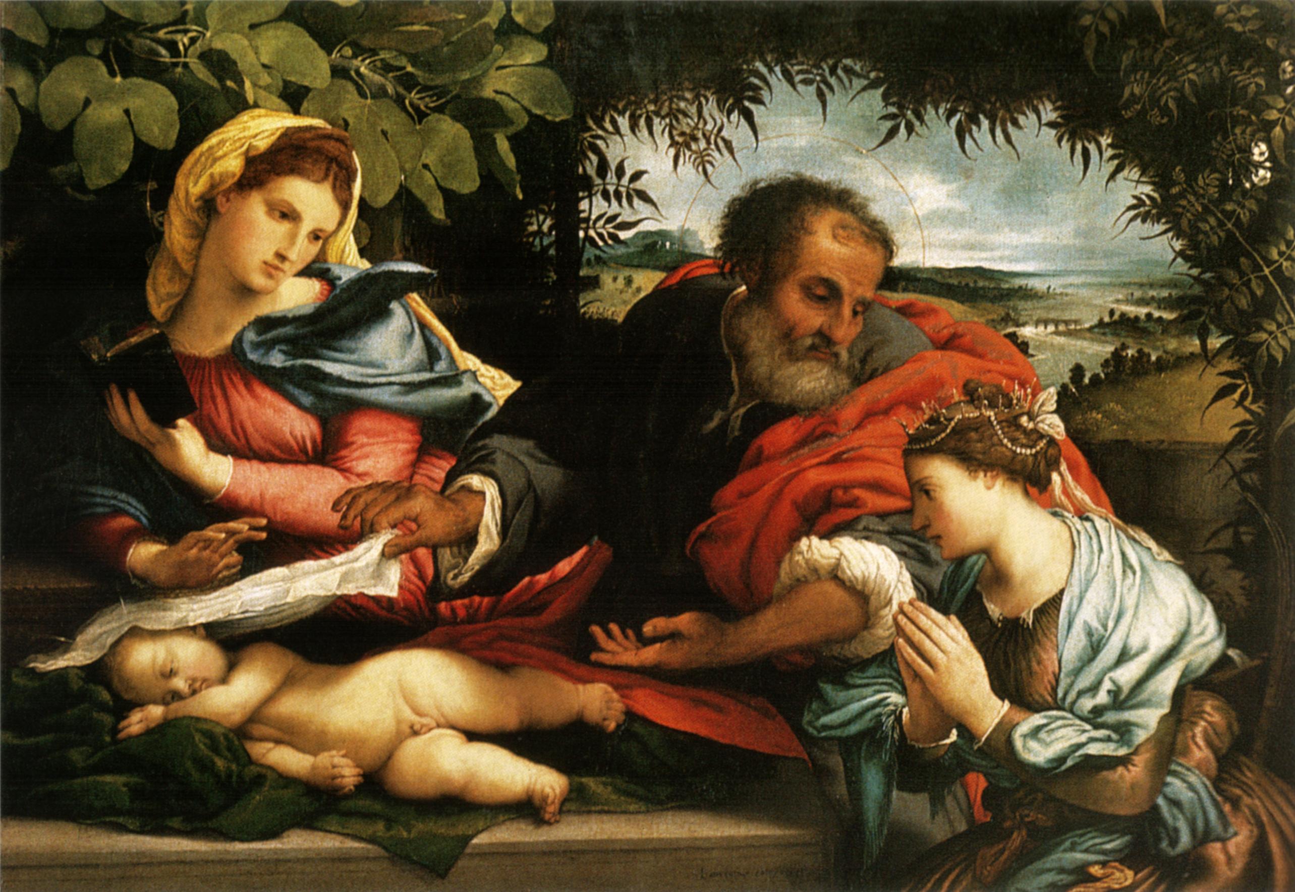 File:Lotto, sacra famiglia con santa caterina d ...