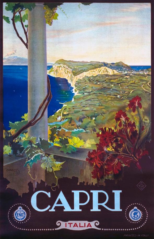 Affiche publicitaire pour le tourisme à Capri par Mario Borgoni.