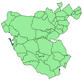 Map of Cádiz showing its location within the province of Cádiz