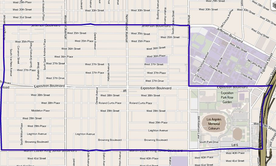 FileMap of Exposition Park neighborhood of Los Angeles California