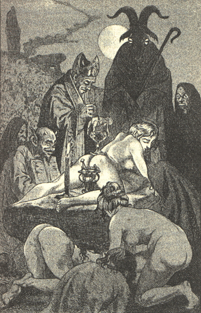 Illustration by Martin van Maele, of a Witches' Sabbath, in the 1911 edition of La Sorciere, by Jules Michelet. Martin van Maele - La Sorciere 06.jpg