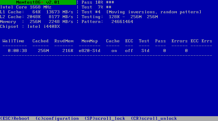 Memtest86+ memory test in action