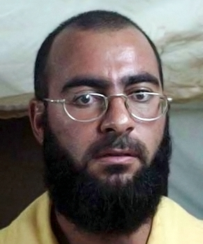 Mugshot of Abu Bakr al-Baghdadi by US armed forces while in detention at Camp Bucca in 2004 Mugshot of Abu Bakr al-Baghdadi, 2004.jpg