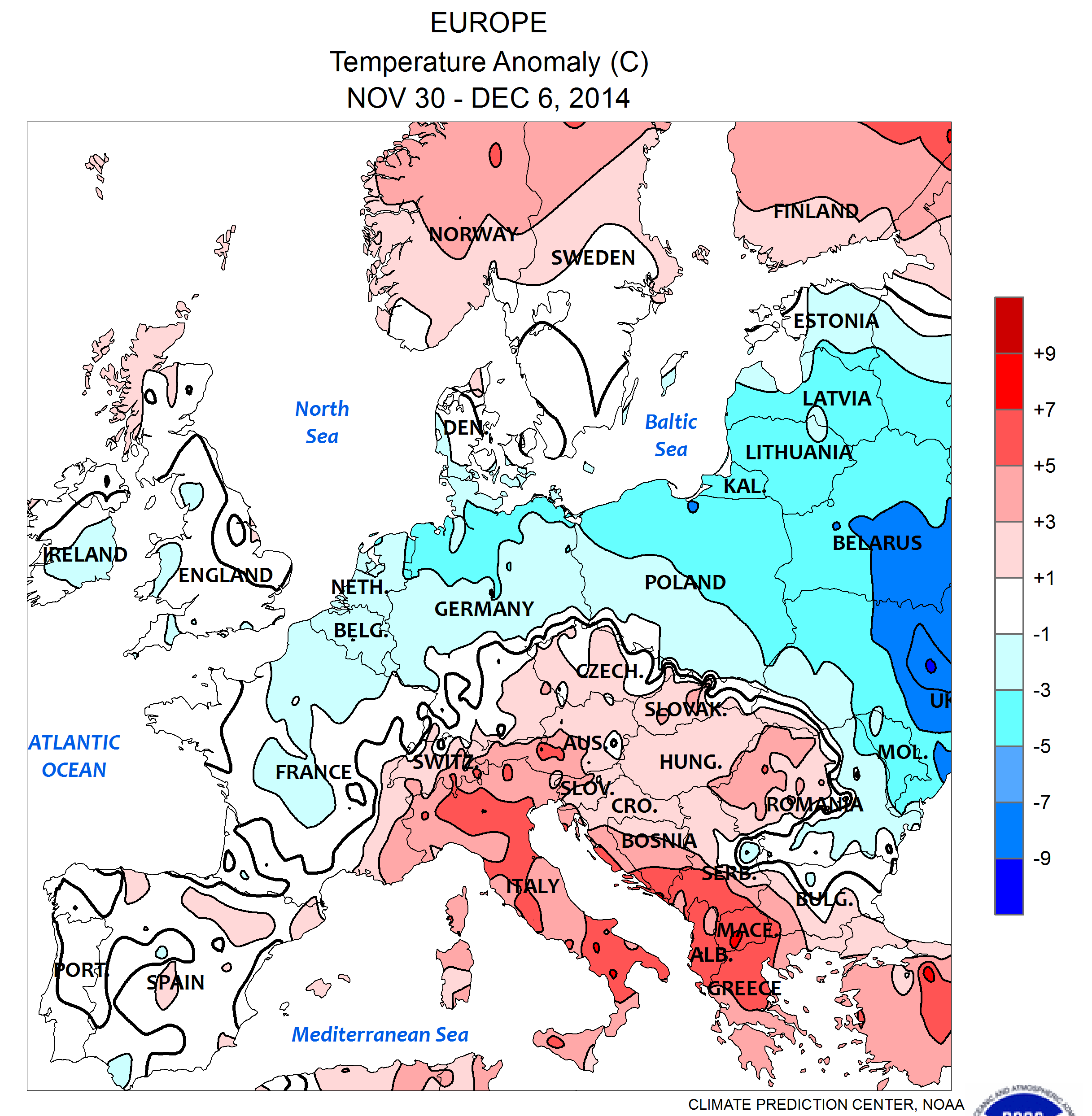 File nws noaa europe temperature anomaly c nov 30 dez 6 for Europe in november