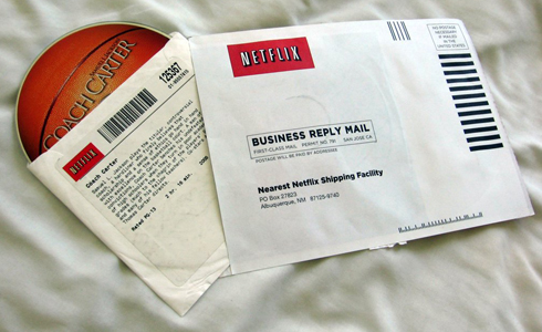 Opened Netflix rental envelope containing a DVD of Coach Carter Netflixenvelope.jpg