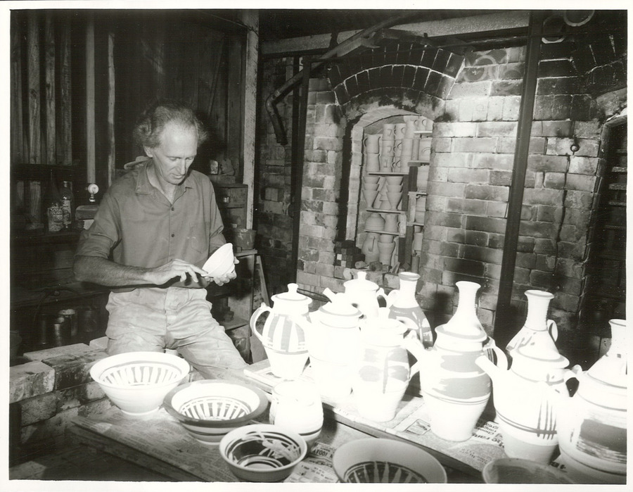 13 February 2019 English Peter Stichbury checking pottery prior to firing. March 1974