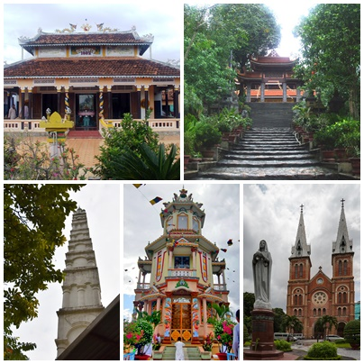 Religious worship places in Vietnam, clockwise from top-right: Trúc Lâm Yên Tử Buddhist Monastery, Notre-Dame Cathedral Catholic Basilica, Tây Ninh Holy See Caodaist Tower, Al-Noor Mosque Muslim Minaret and Cầu Hoahaoist Temple.