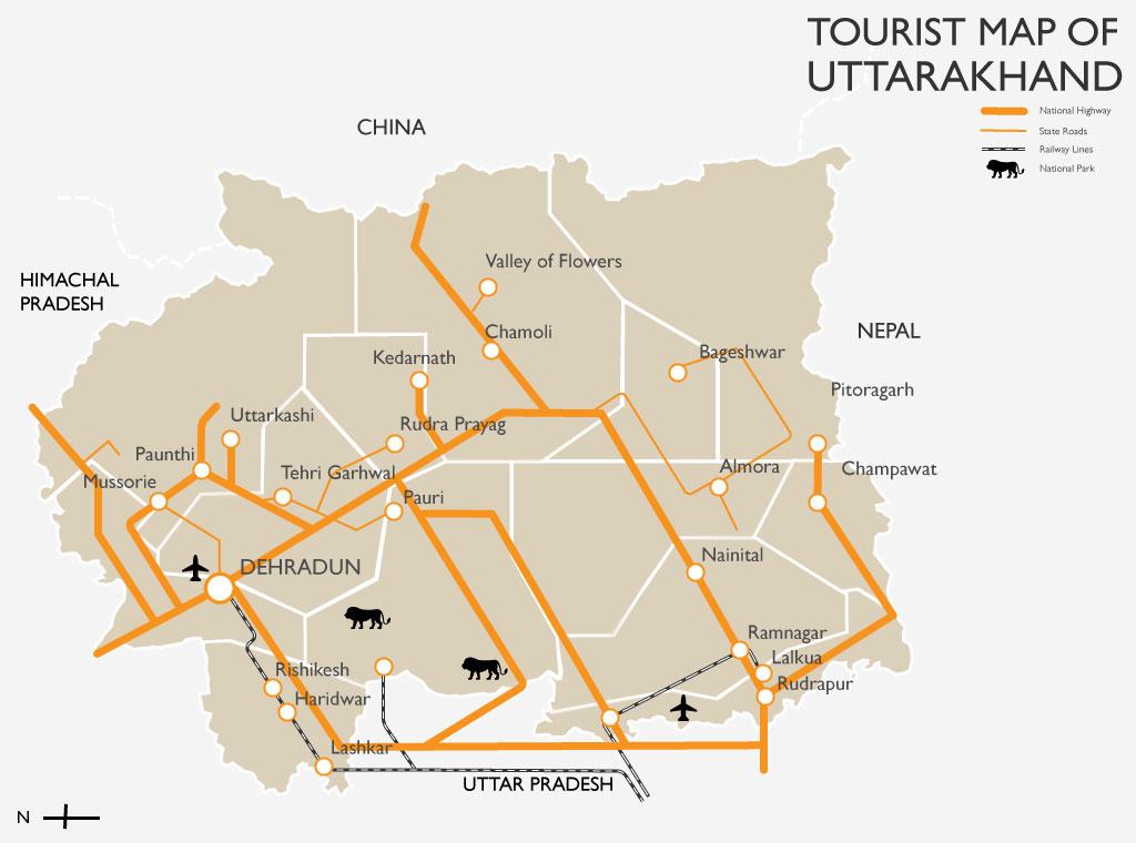 Image result for uttarakhand tourism map