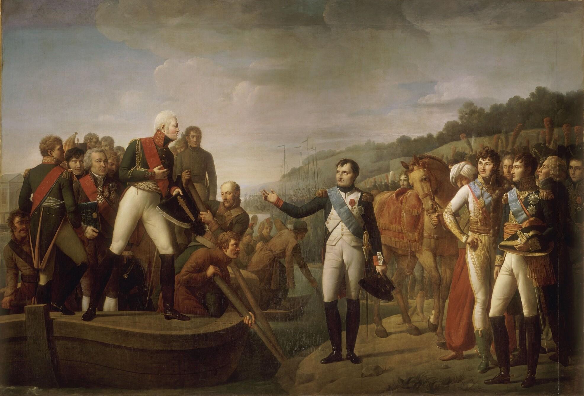 Ο Ναπολέων αποχαιρετά τον Αλέξανδρο (Τιλσίτ, 1807). Οι δυο αυτοκράτορες έχουν ανταλλάξει εμβλήματα σε ένδειξη της συμμαχίας τους. Διακρίνονται οι χρωματιστές κορδέλες (μπλε: Αγ. Ανδρέα, κόκκινη: Λεγεώνα της Τιμής) από τις οποίες κρέμονται στο πλάι τα εμβλήματα των Ταγμάτων τους.