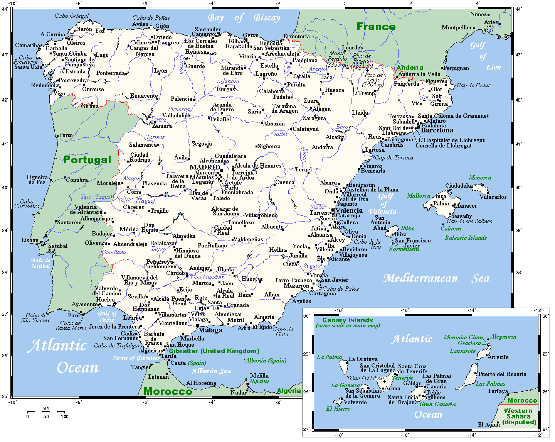 Spanish Speaking Island Map Outline