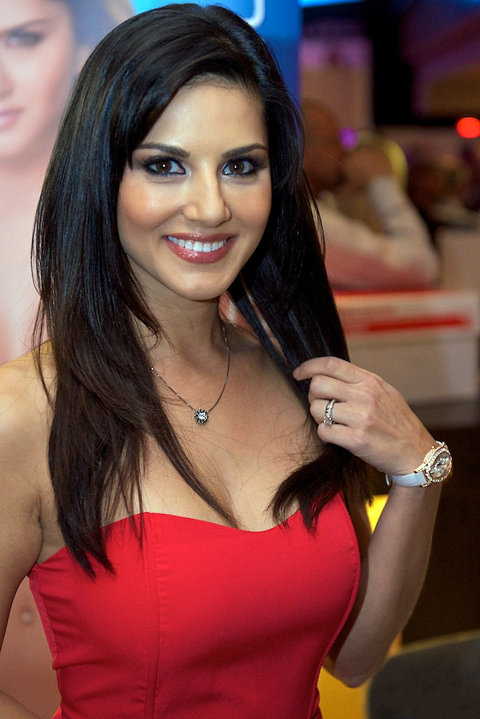 sunny leone in a red dress