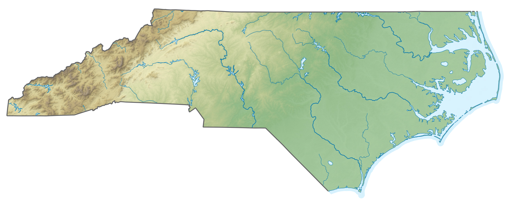 Datei:USA North Carolina relief map cut.png – Wikipedia