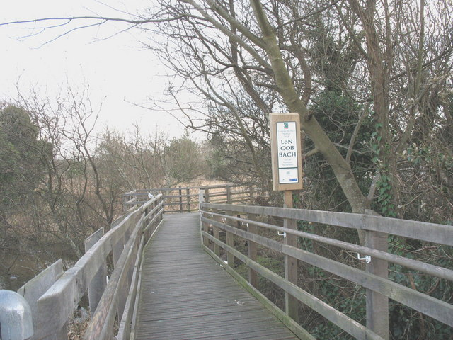 Walkway across the Lon Cob Bach Nature Reserve - geograph.org.uk - 664181