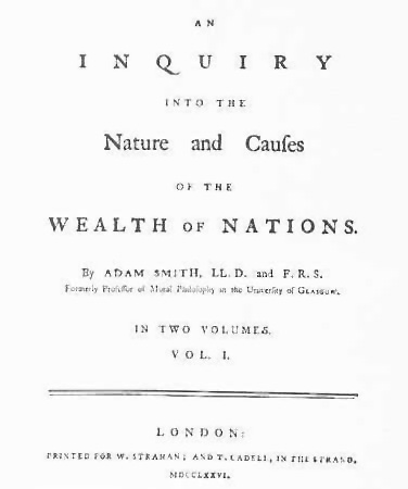 First page from Adam Smith's Wealth of Nations, 1776 London edition