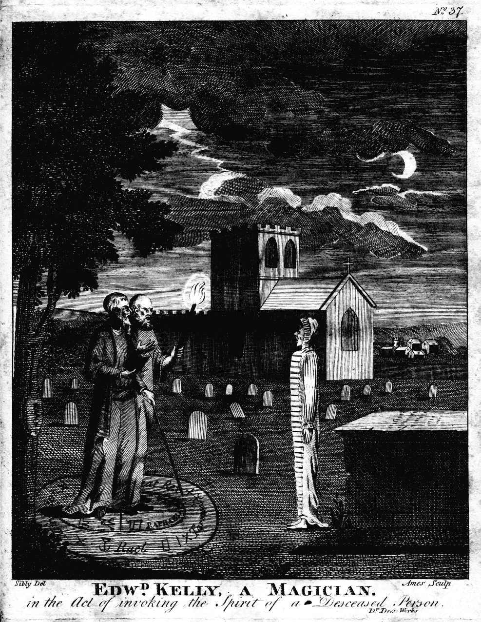 An image of John Dee and Edward Kelly raising spirits
