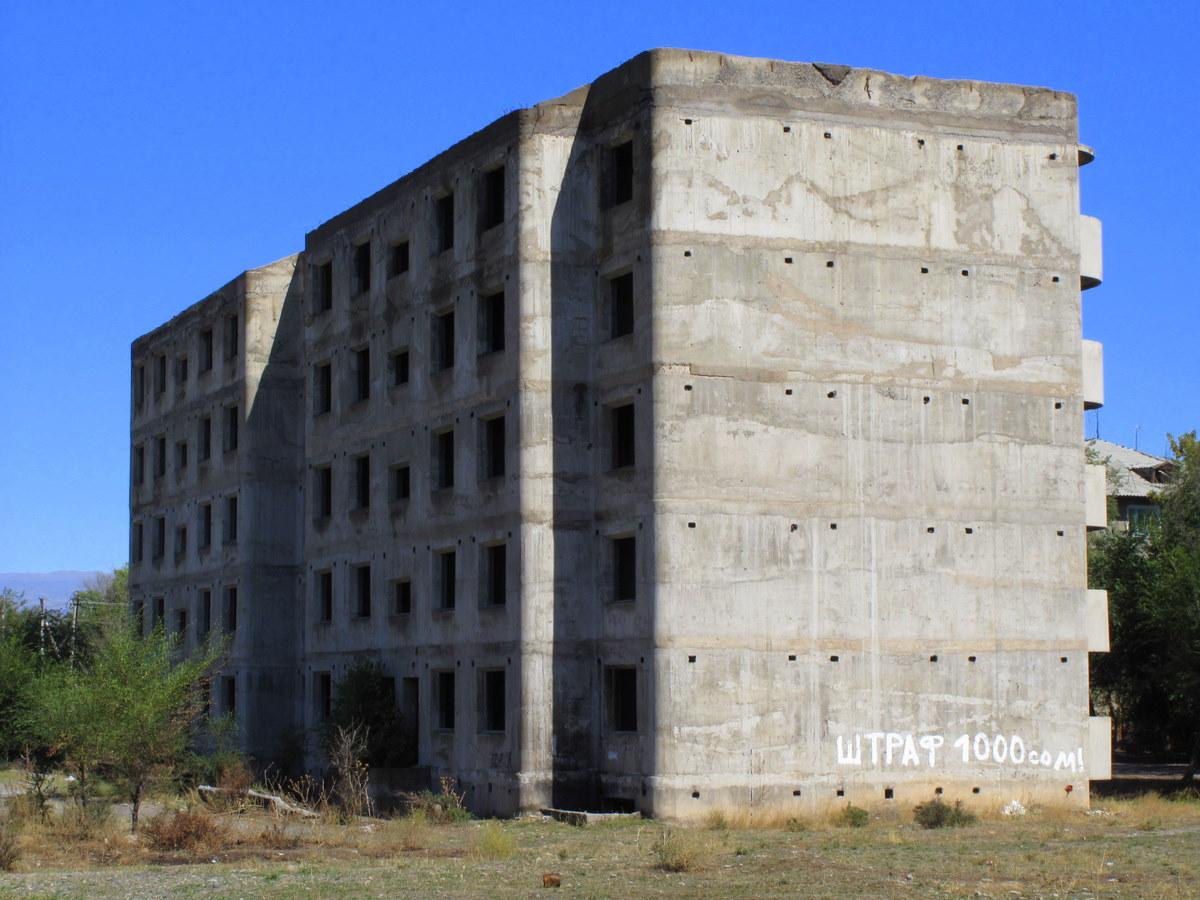 unfinished building outside of Bishkek