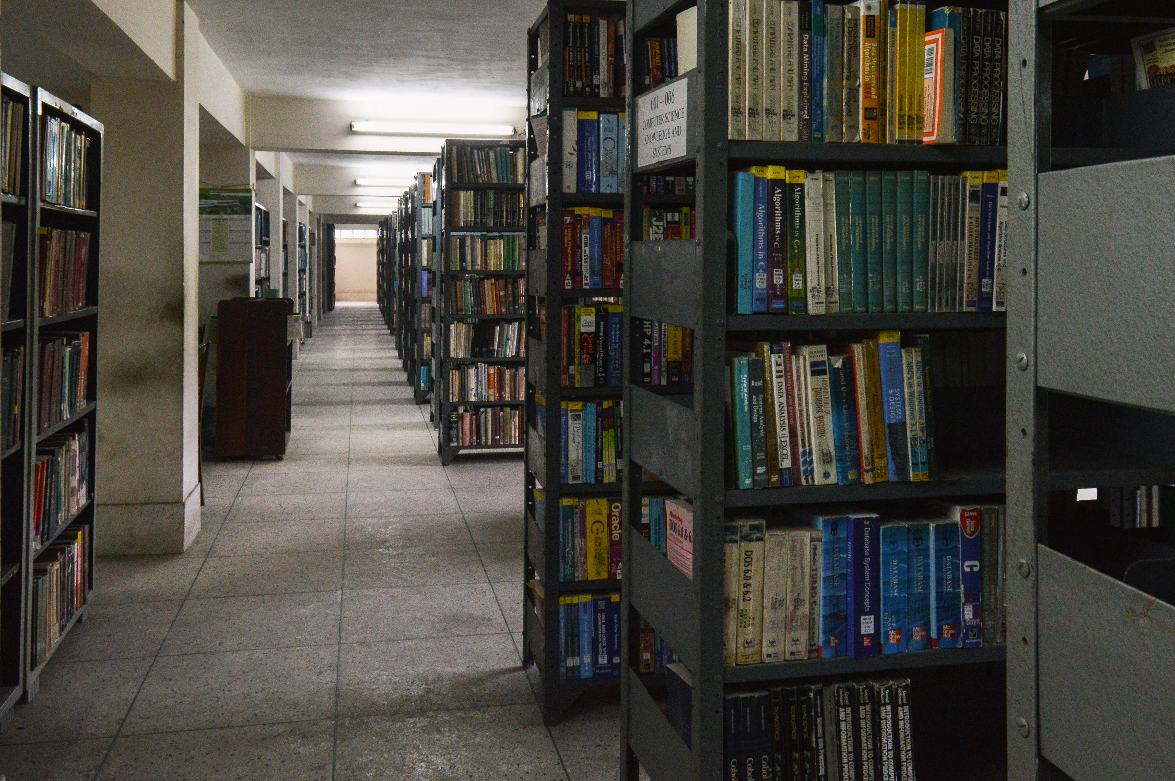 File:Bibliography shelves in Chittagong University Library