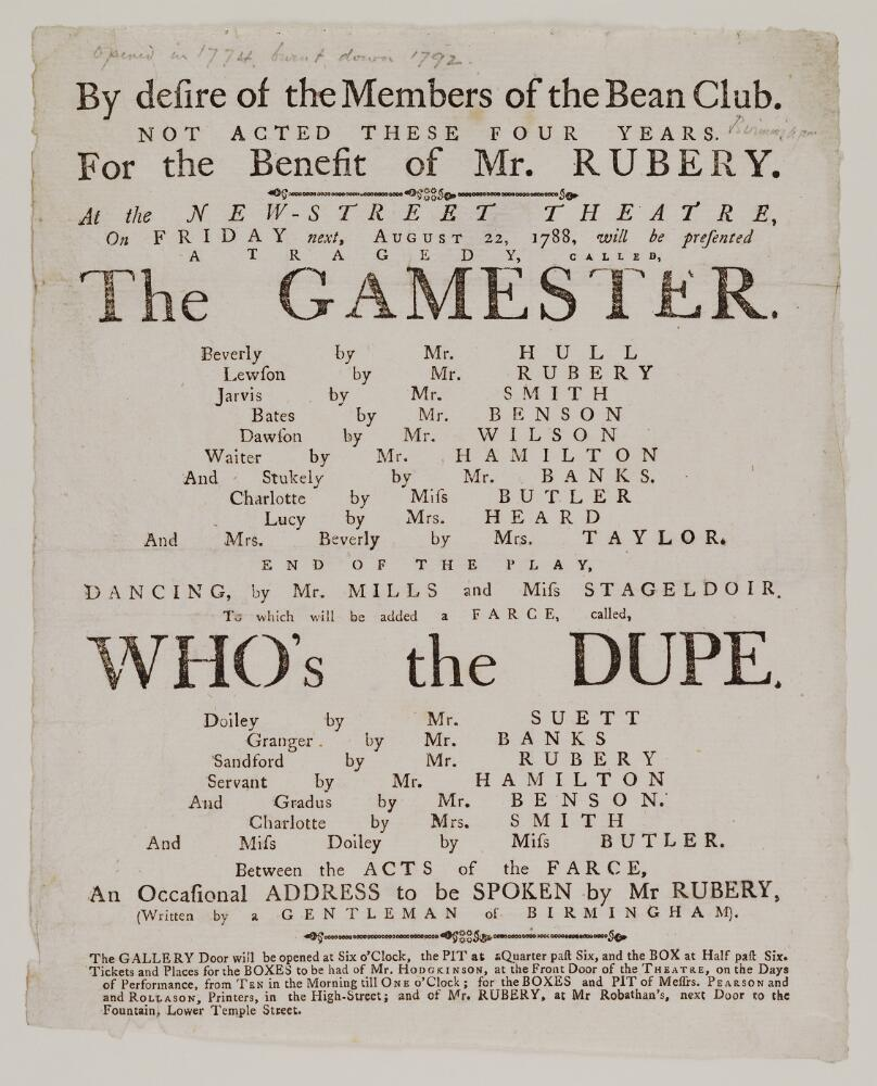 File:Bodleian Libraries, Playbill of New-Street Theatre, Friday, August 22