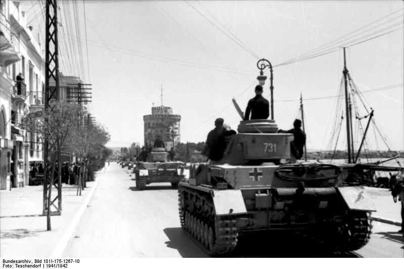 Panzer IV's passing through Thessaloniki