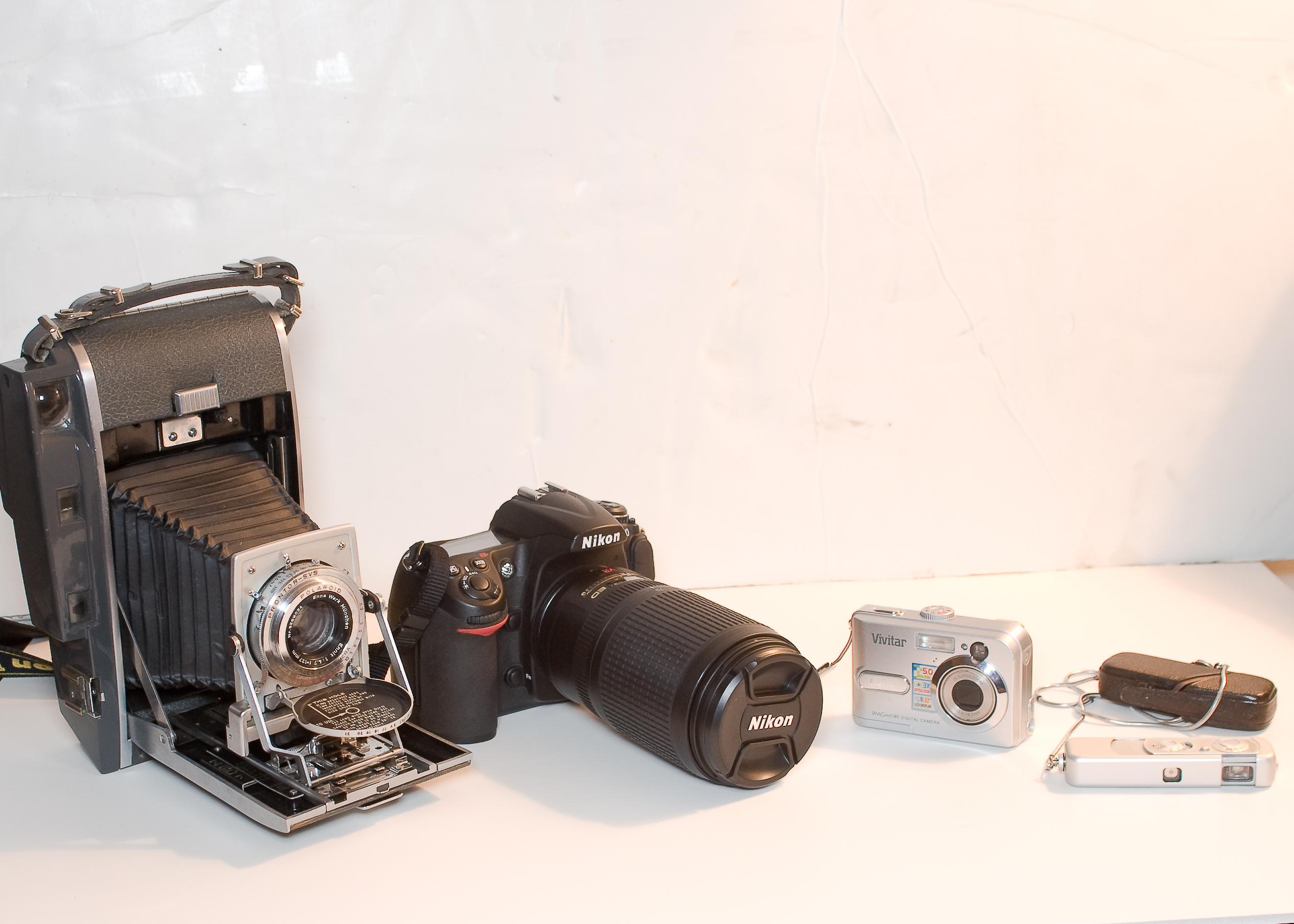 An assortment of cameras.