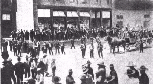 The Cananea strike, 1906, the company store guarded against workers Cananea tienda de raya.jpg