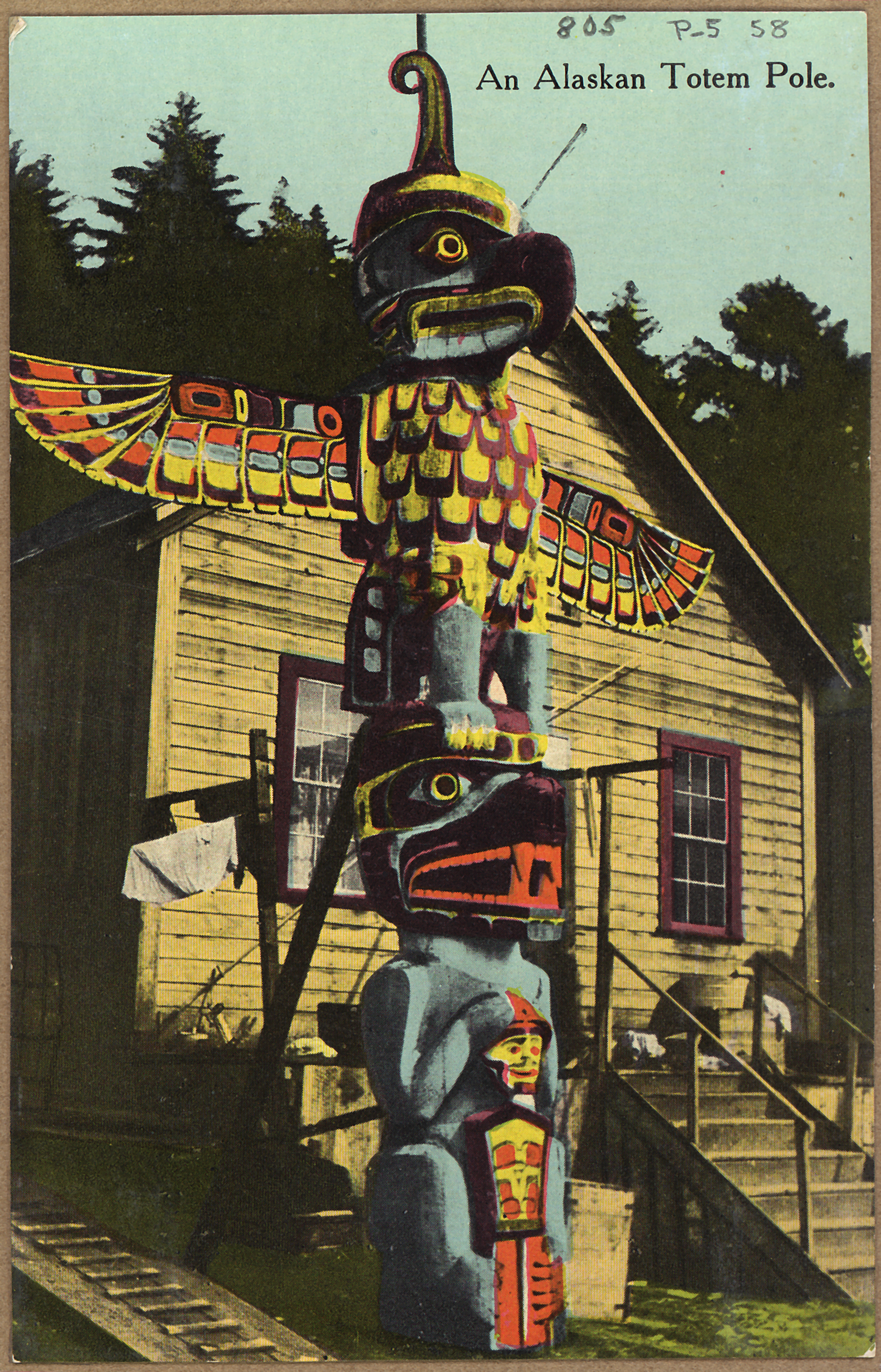 Color art anchorage - File Color Post Card An Alaskan Totem Pole Nara 297748