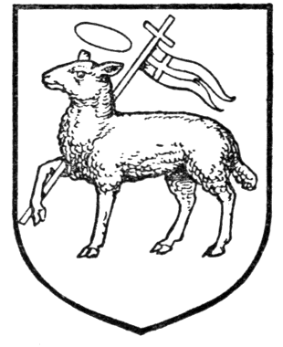 An heraldic escutcheon blazoned as A paschal lamb, as drawn by Arthur Charles Fox-Davies (1871-1928) Complete Guide to Heraldry Fig398.png