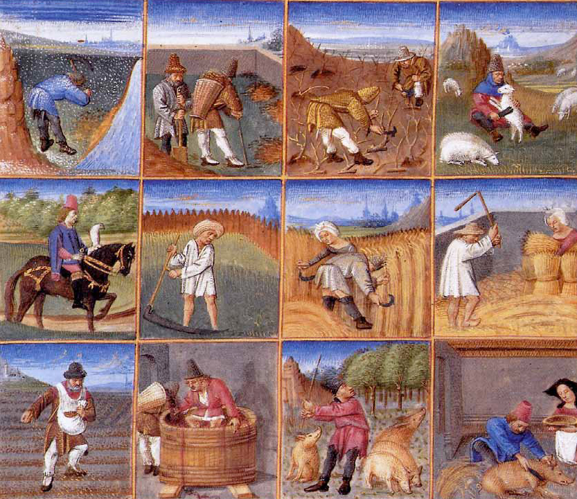 The peasants. Agricultural calendar from a manuscript of Pietro Tsrestsenzi, 1380.
