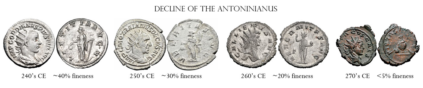 Currency debasement as seen in falling silver purity of the Antoninianus (Wikipedia) Silver Bullion: Once and Future Money Silver Bullion: Once and Future Money Decline of the antoninianus
