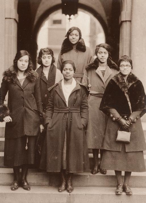 Members at 1921 national convention, hosted by Gamma Chapter (l to r): front, Virginia Margaret Alexander, Julia Mae Polk, Sadie Tanner Mossell&#x3B; row 2, Anna R. Johnson, Nellie Rathbone Bright, Pauline Alice Young