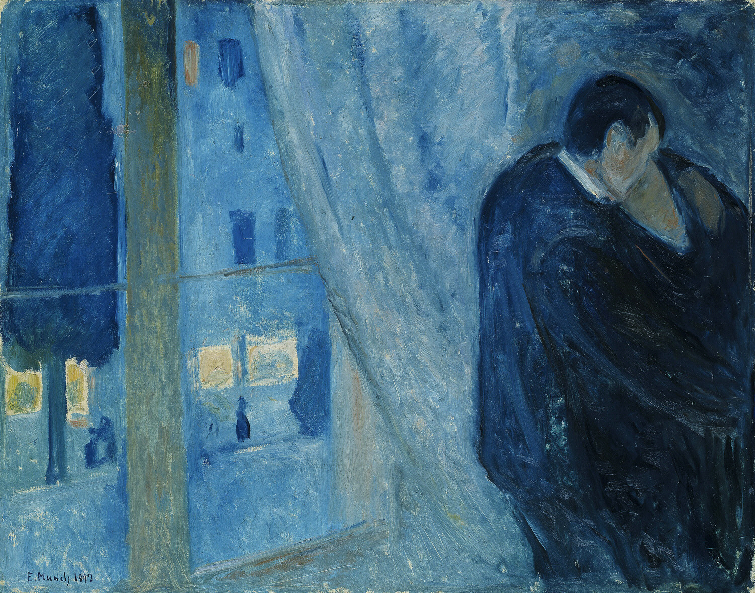 Nocturnal - the best nocturne paintings: Edvard Munch, Kiss by the Window