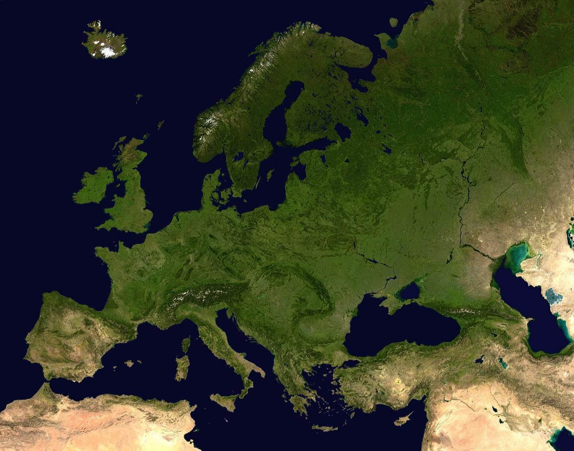 Image result for Europe satellite map