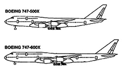 The proposed 747-500X and -600X as depicted in a 1998 FAA illustration FAA comparison of Boeing 747-500X and 747-600X.jpg