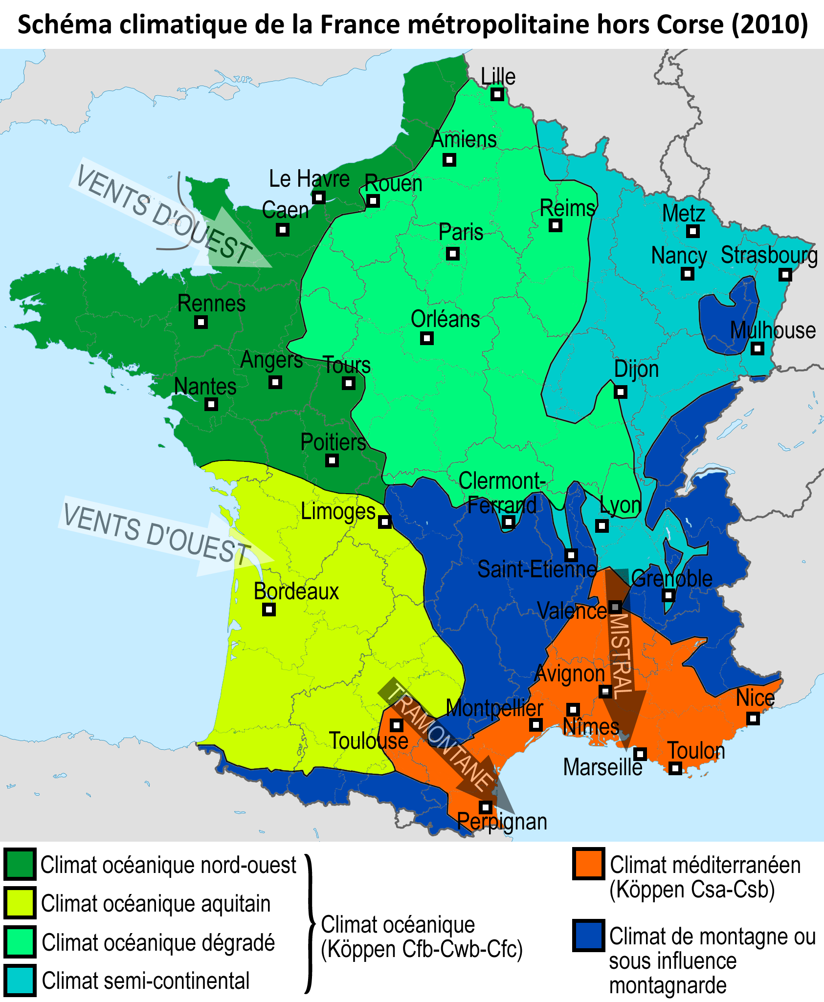 Climat de la france wikiwand for B b carte france