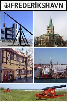 Fra øvre venstre: Kattegat Silo, Frederikshavn kirke, Havnegade, Frederikshavn havn, Nordre Skanse